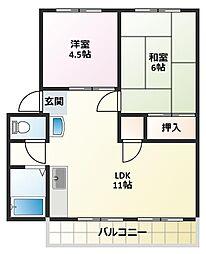 サンシティ東加古川B棟[1階]の間取り