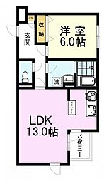 LAPis吉祥寺 2階1LDKの間取り