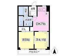 武蔵野ヒルズ 7階2DKの間取り