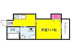 大阪府堺市堺区甲斐町西3丁の賃貸マンションの間取り