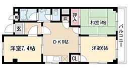 愛知県名古屋市天白区原1の賃貸マンションの間取り