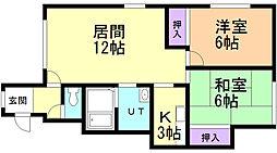 ソフィール16号館 2階2LDKの間取り
