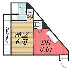千葉県千葉市中央区弁天2丁目の賃貸アパートの間取り