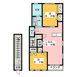 ロイヤルシャルムB[2階]の間取り