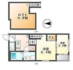 呼続3丁目2 A・SKHコーポ[2階]の間取り
