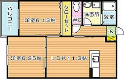 キミエひびきのレジデンス[2階]の間取り