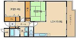 大阪府羽曳野市野々上2丁目の賃貸マンションの間取り