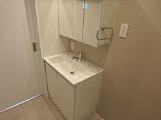 シャワー付き2面鏡の洗面台です