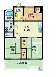 105大稲マンション[704号室]の間取り