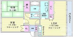 仙台市地下鉄東西線 大町西公園駅 徒歩22分の賃貸マンション 1階2LDKの間取り