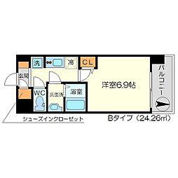 リッツ新大阪 2階1Kの間取り