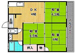 大阪府枚方市大峰元町2丁目の賃貸アパートの間取り