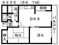 プラネット藤井寺[308号室号室]の間取り