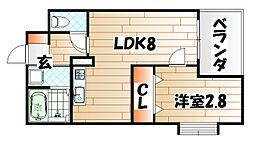 福岡県北九州市戸畑区千防2の賃貸マンションの間取り