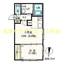 札幌市電2系統 西線6条駅 徒歩7分の賃貸マンション 3階1LDKの間取り