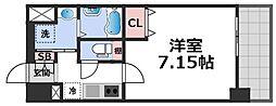 JPレジデンス大阪城東III 8階1Kの間取り