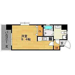福岡市地下鉄空港線 天神駅 徒歩8分の賃貸マンション 4階1Kの間取り