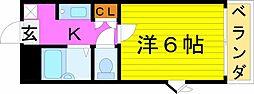 阪急千里線 関大前駅 徒歩15分の賃貸マンション 3階1Kの間取り