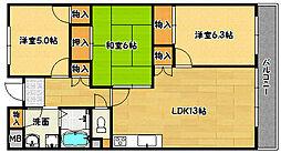 兵庫県神戸市北区鈴蘭台東町9丁目の賃貸マンションの間取り