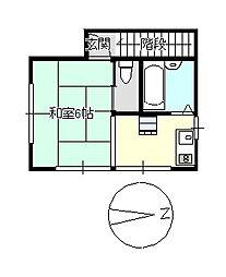 下林アパート[B-2号室]の間取り