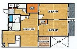 JR山陽本線 庭瀬駅 徒歩11分の賃貸マンション 2階2LDKの間取り