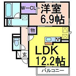 (仮)D-room鹿沼B 1階1LDKの間取り