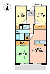 アーバンラフレ志賀24号棟[3階]の間取り