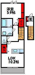 JR篠栗線 原町駅 徒歩20分の賃貸アパート 2階1LDKの間取り
