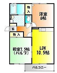 岡山県岡山市中区関の賃貸アパートの間取り
