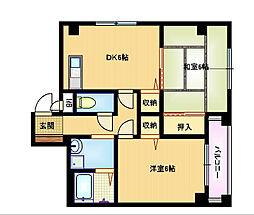 おおさか東線 城北公園通駅 徒歩2分の賃貸マンション 4階2DKの間取り