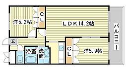 兵庫県姫路市大津区勘兵衛町2丁目の賃貸マンションの間取り