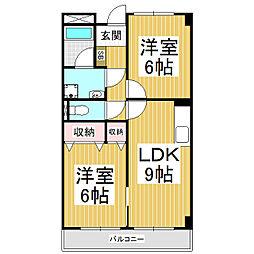 長野県伊那市西春近の賃貸マンションの間取り