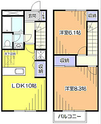 [テラスハウス] 東京都小平市学園東町2丁目 の賃貸【/】の間取り
