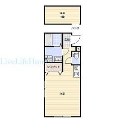 JR徳島線 府中駅 3.5kmの賃貸アパート 2階1Kの間取り