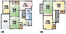 JR総武本線 八街駅 3.1kmの賃貸一戸建て 1階6DKの間取り