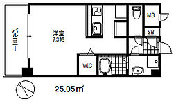 ソアシンナガタ 8階ワンルームの間取り