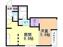 仮)VOYAGE TOYOHIRA 2階1LDKの間取り