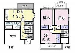 [テラスハウス] 神奈川県横浜市都筑区富士見が丘 の賃貸【/】の間取り