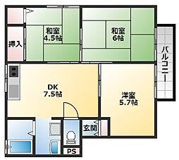 ドーマシャンテ 1階3DKの間取り