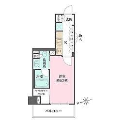 東京メトロ有楽町線 江戸川橋駅 徒歩6分の賃貸マンション 6階1Kの間取り