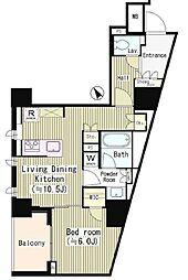 都営浅草線 東銀座駅 徒歩8分の賃貸マンション 5階1LDKの間取り