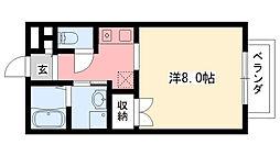 兵庫県西宮市鳴尾町4丁目の賃貸アパートの間取り