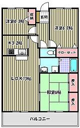 ベルモード三国ヶ丘[9階]の間取り