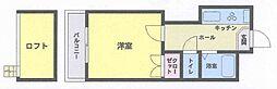 福岡県北九州市小倉北区中島1丁目の賃貸アパートの間取り