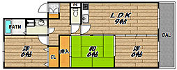 兵庫県川西市笹部1丁目の賃貸アパートの間取り