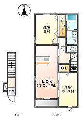 カーサ花の樹B[2階]の間取り
