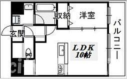 JR阪和線 長居駅 徒歩1分の賃貸マンション 3階1LDKの間取り