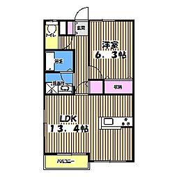 東京都小金井市関野町1丁目の賃貸アパートの間取り