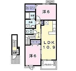ヴェル ドミ−ルA・B[A203号室]の間取り