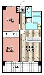 ラシュール・イン東比恵[8階]の間取り